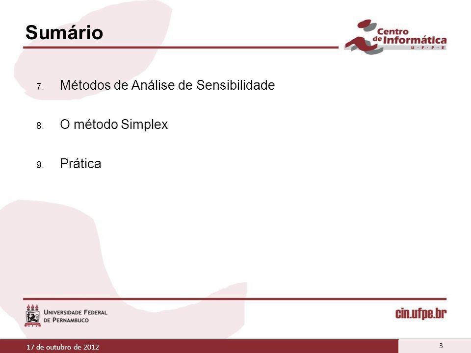 Sumário 7. Métodos de Análise de Sensibilidade 8. O método Simplex 9. Prática 17 de outubro de 2012 3