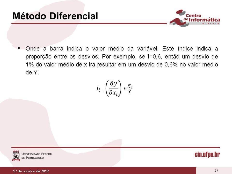Método Diferencial 17 de outubro de 2012 37