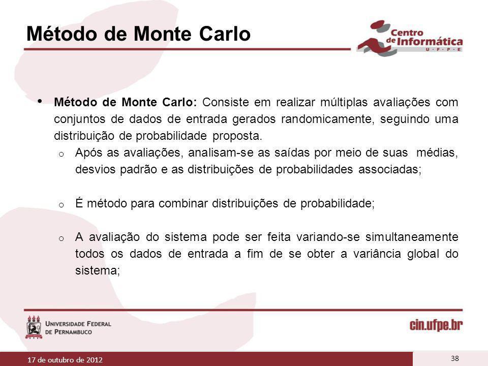 Método de Monte Carlo Método de Monte Carlo: Consiste em realizar múltiplas avaliações com conjuntos de dados de entrada gerados randomicamente, segui