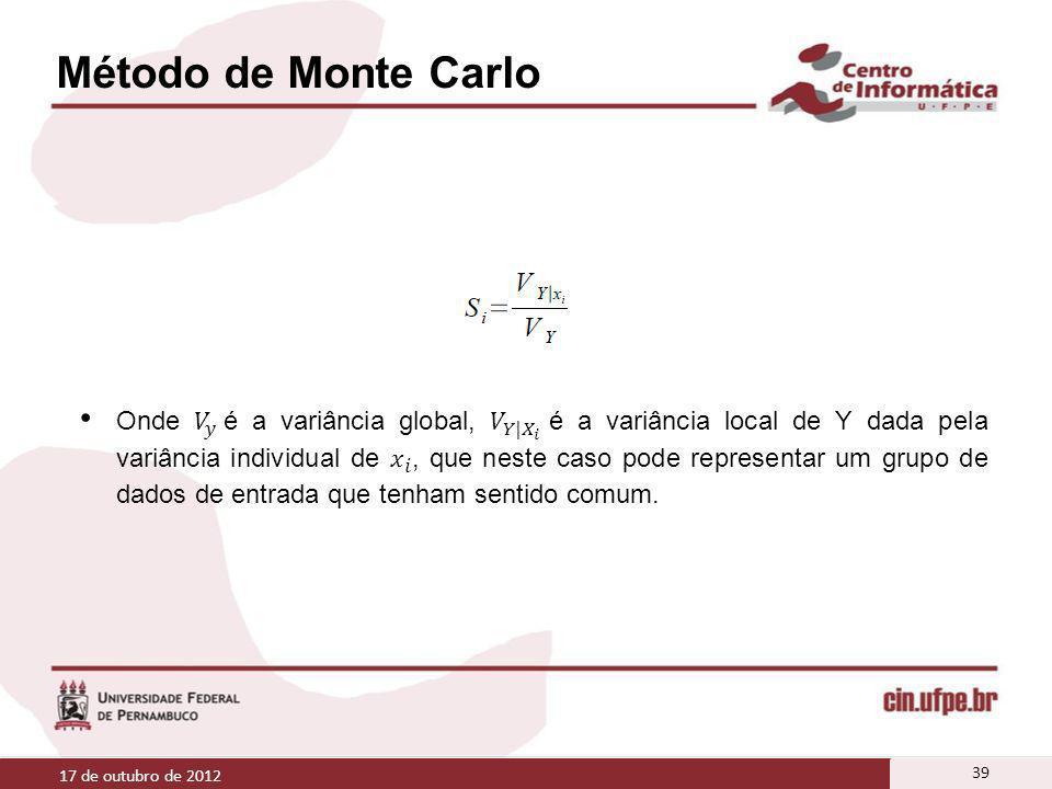 Método de Monte Carlo 17 de outubro de 2012 39