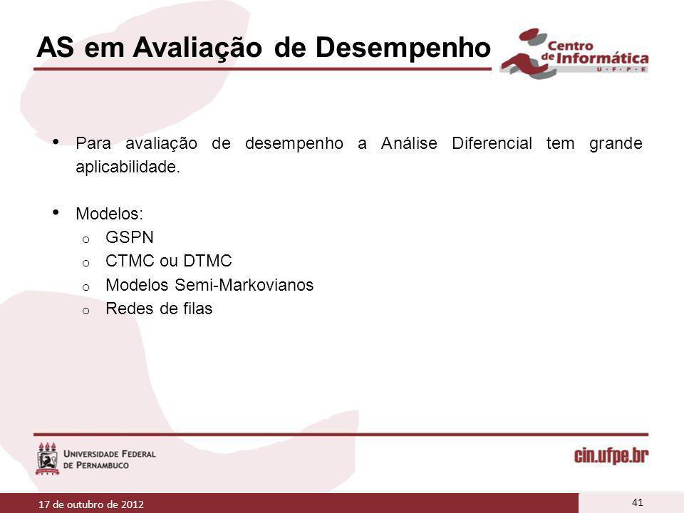 AS em Avaliação de Desempenho Para avaliação de desempenho a Análise Diferencial tem grande aplicabilidade. Modelos: o GSPN o CTMC ou DTMC o Modelos S
