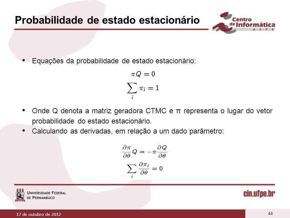 Probabilidade de estado estacionário Equações da probabilidade de estado estacionário: Onde Q denota a matriz geradora CTMC e π representa o lugar do