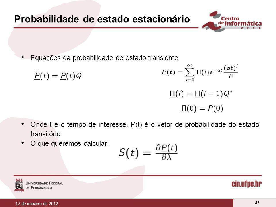Probabilidade de estado estacionário Equações da probabilidade de estado transiente: Onde t é o tempo de interesse, P(t) é o vetor de probabilidade do
