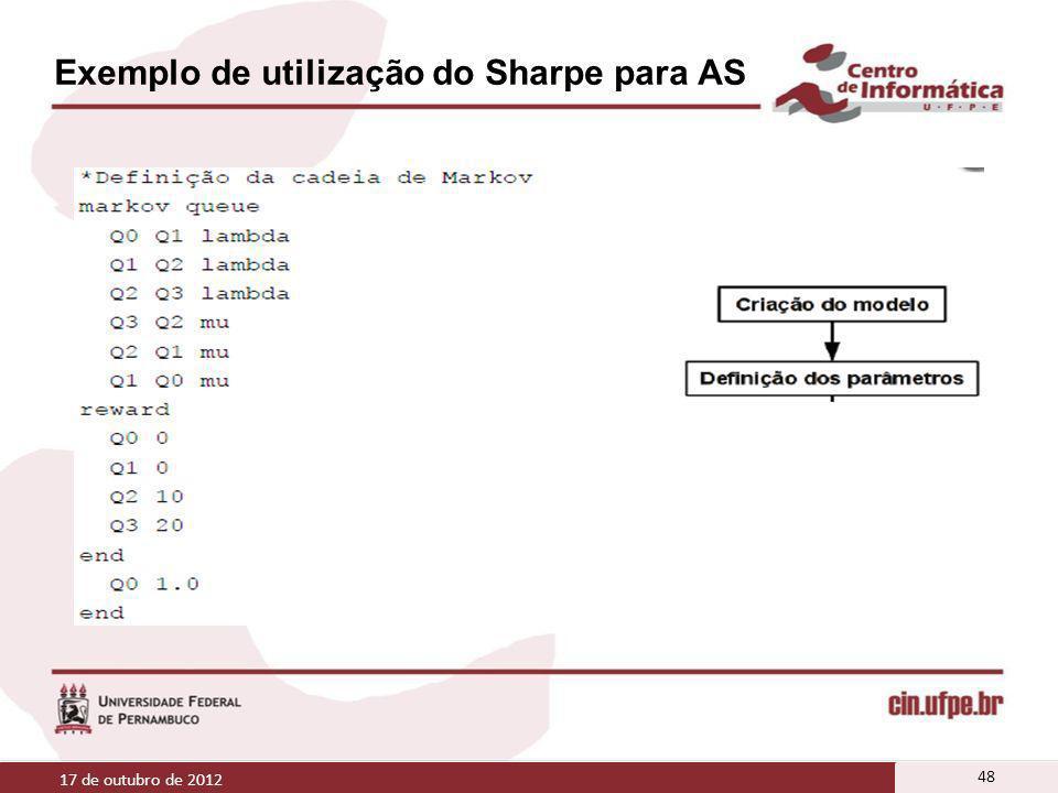 Exemplo de utilização do Sharpe para AS 17 de outubro de 2012 48