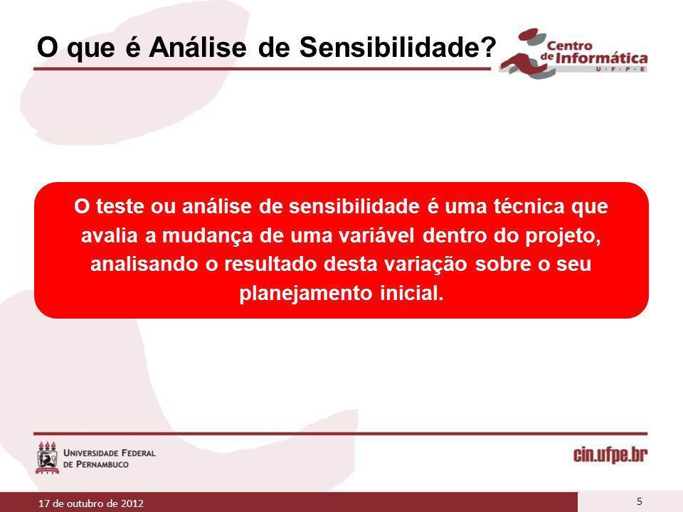 O que é Análise de Sensibilidade? O que é Análise de Sensibilidade ou Análise de Pós-Otimização? 17 de outubro de 2012 5 O teste ou análise de sensibi