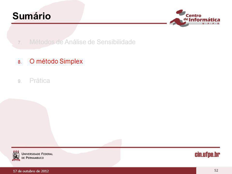 Sumário 7. Métodos de Análise de Sensibilidade 8. O método Simplex 9. Prática 17 de outubro de 2012 52