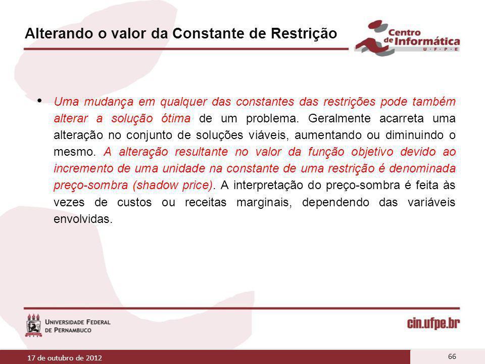 Alterando o valor da Constante de Restrição Uma mudança em qualquer das constantes das restrições pode também alterar a solução ótima de um problema.