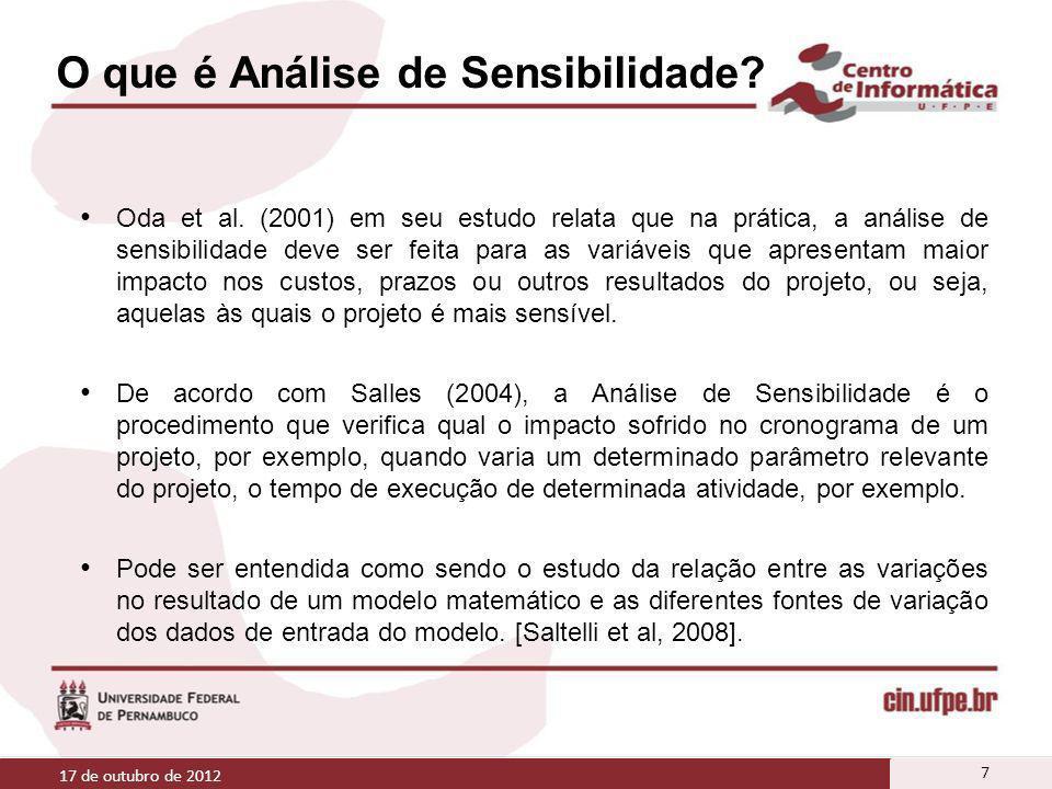 O que é Análise de Sensibilidade? Oda et al. (2001) em seu estudo relata que na prática, a análise de sensibilidade deve ser feita para as variáveis q