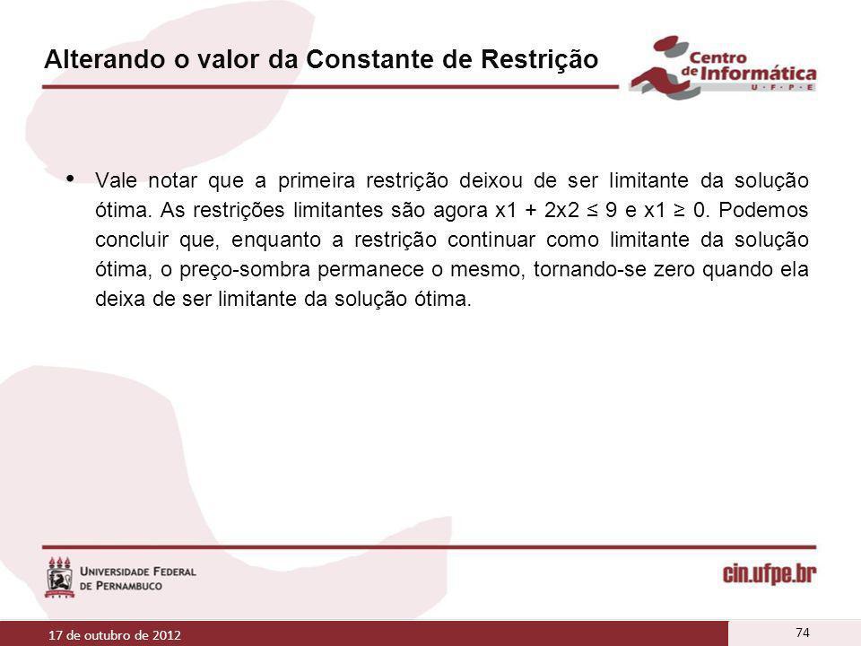 Alterando o valor da Constante de Restrição Vale notar que a primeira restrição deixou de ser limitante da solução ótima. As restrições limitantes são