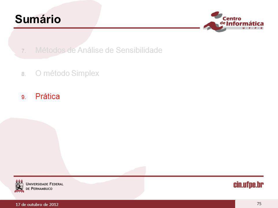 Sumário 7. Métodos de Análise de Sensibilidade 8. O método Simplex 9. Prática 17 de outubro de 2012 75