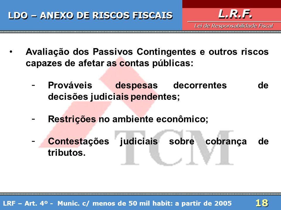 18 LDO – ANEXO DE RISCOS FISCAIS Avaliação dos Passivos Contingentes e outros riscos capazes de afetar as contas públicas: - Prováveis despesas decorr