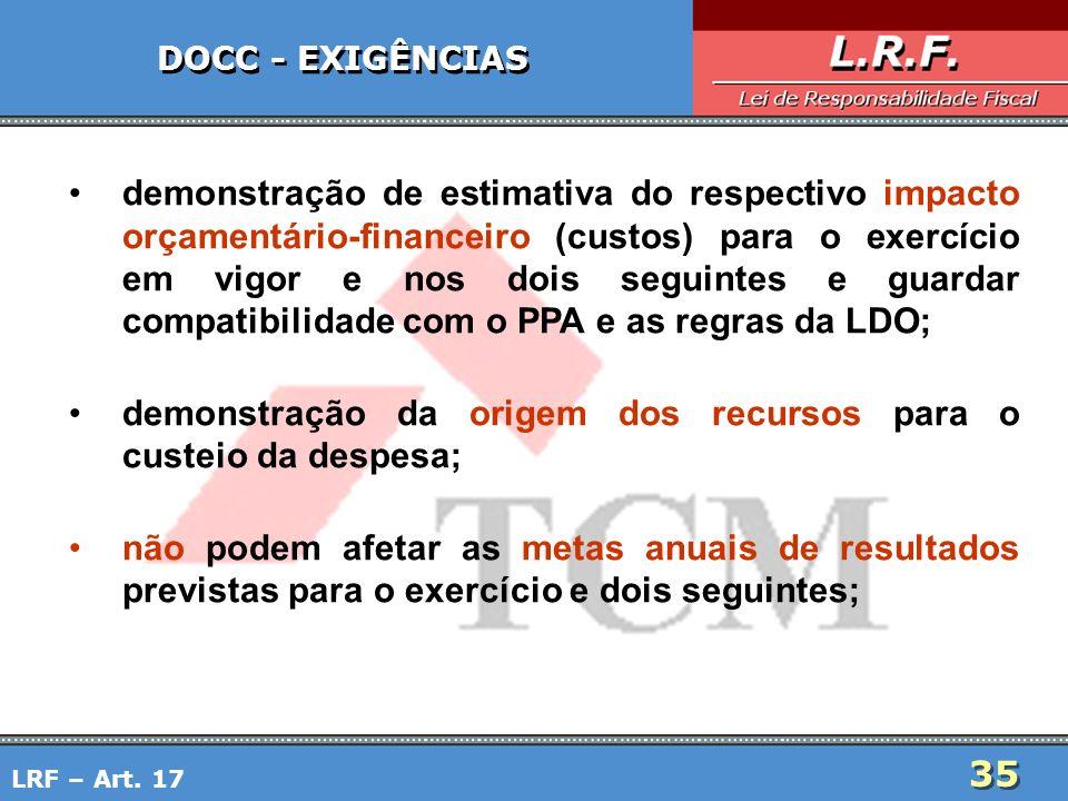 35 DOCC - EXIGÊNCIAS demonstração de estimativa do respectivo impacto orçamentário-financeiro (custos) para o exercício em vigor e nos dois seguintes