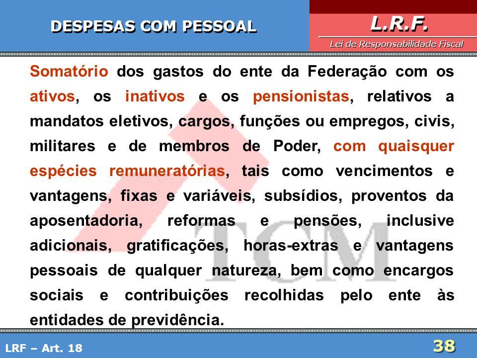 38 DESPESAS COM PESSOAL Somatório dos gastos do ente da Federação com os ativos, os inativos e os pensionistas, relativos a mandatos eletivos, cargos,