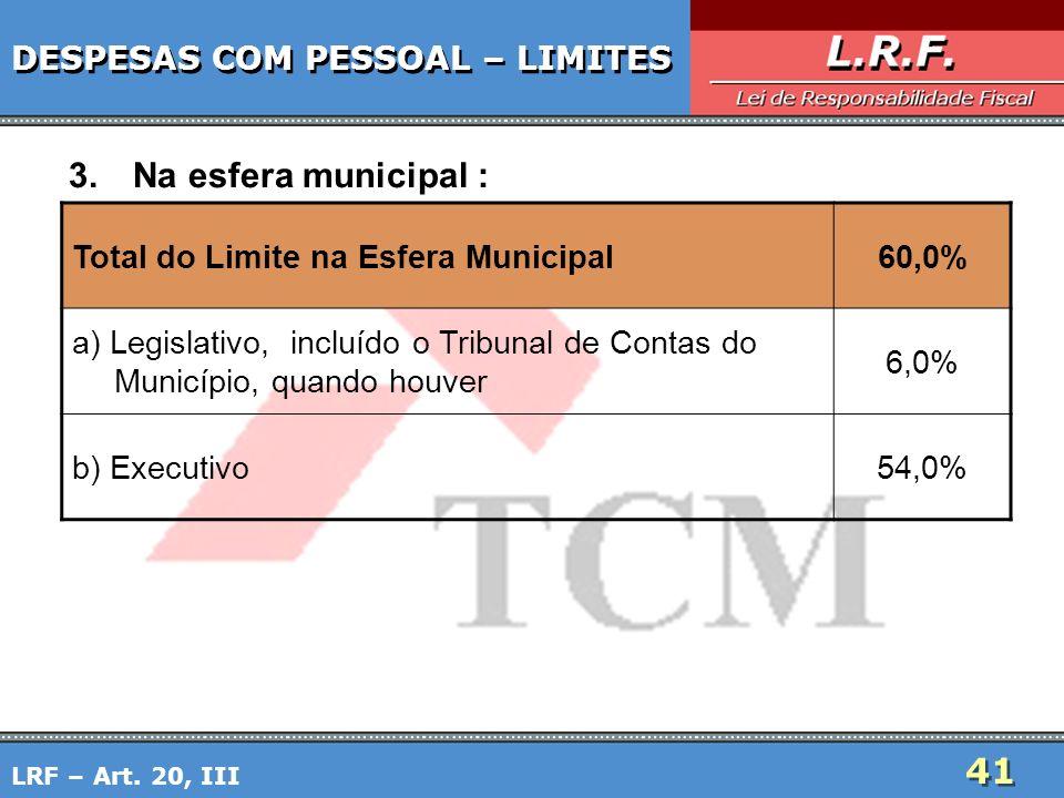 41 DESPESAS COM PESSOAL – LIMITES 3.Na esfera municipal : LRF – Art. 20, III Total do Limite na Esfera Municipal60,0% a) Legislativo, incluído o Tribu