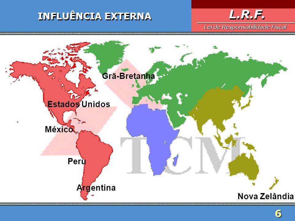 6 6 INFLUÊNCIA EXTERNA Estados Unidos Argentina Nova Zelândia Grã-Bretanha Peru México
