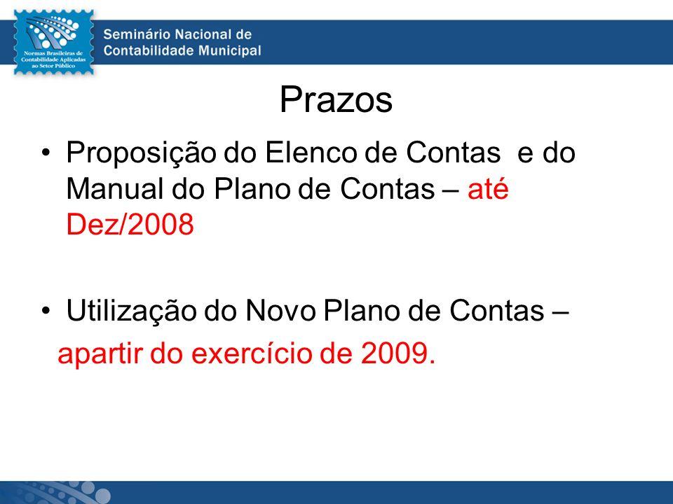 Prazos Proposição do Elenco de Contas e do Manual do Plano de Contas – até Dez/2008 Utilização do Novo Plano de Contas – apartir do exercício de 2009.
