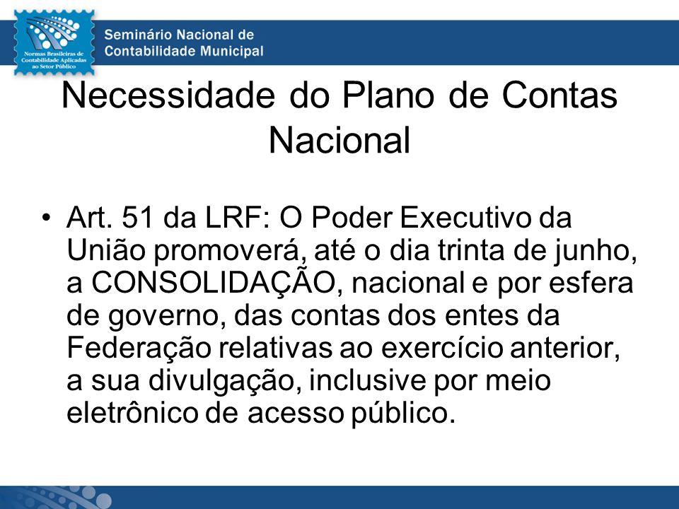 Necessidade do Plano de Contas Nacional Art. 51 da LRF: O Poder Executivo da União promoverá, até o dia trinta de junho, a CONSOLIDAÇÃO, nacional e po