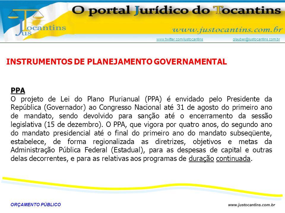 ORÇAMENTO PÚBLICO www.justocantins.com.br www.twitter.com/justocantinswww.twitter.com/justocantins glauber@justocantins.com.brglauber@justocantins.com.brLDO A Lei de Diretrizes Orçamentária (LDO) é enviada anualmente pelo Chefe do Poder Executivo ao Poder Legislativo até o dia 15 de abril e devolvido para sanção até o dia 30 de junho, sem o que o Congresso Nacional está impedido de iniciar o seu recesso de julho.