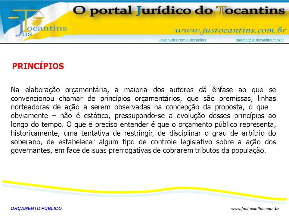 ORÇAMENTO PÚBLICO www.justocantins.com.br www.twitter.com/justocantinswww.twitter.com/justocantins glauber@justocantins.com.brglauber@justocantins.com.brUNIDADE Só existe um Orçamento para cada ente federativo (no Brasil, existe um Orçamento para a União, um para cada Estado e um para cada Município).