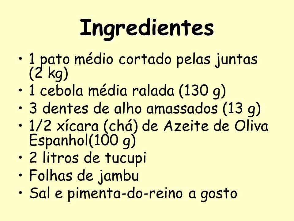 Ingredientes 1 pato médio cortado pelas juntas (2 kg) 1 cebola média ralada (130 g) 3 dentes de alho amassados (13 g) 1/2 xícara (chá) de Azeite de Ol