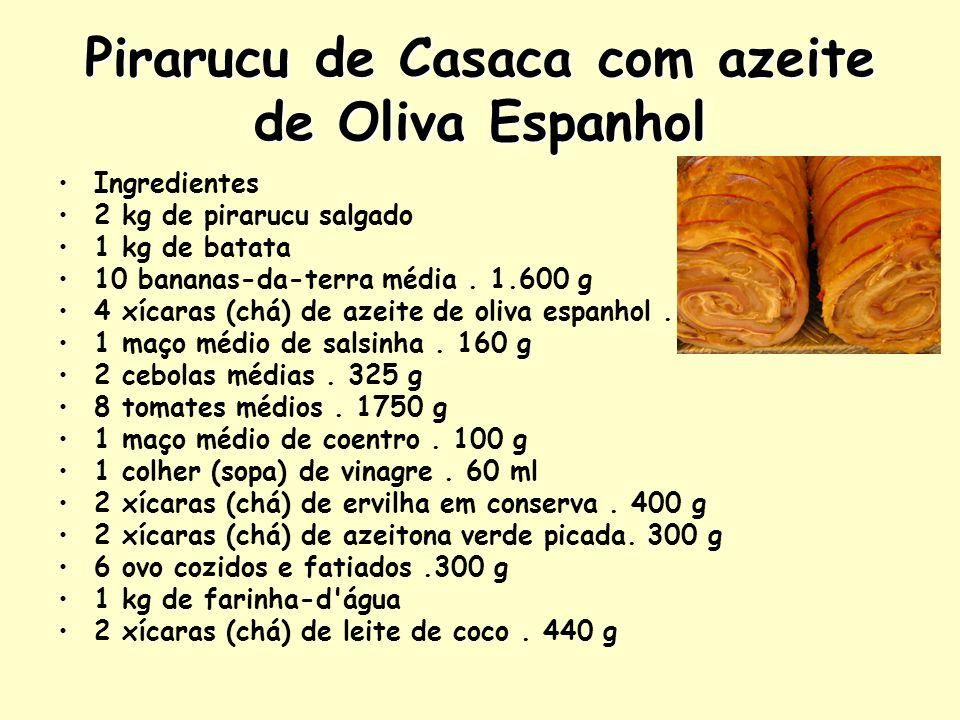 Pirarucu de Casaca com azeite de Oliva Espanhol Ingredientes 2 kg de pirarucu salgado 1 kg de batata 10 bananas-da-terra média. 1.600 g 4 xícaras (chá