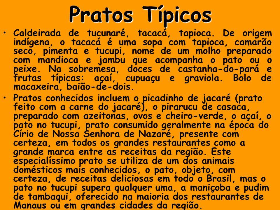 Pratos Típicos Caldeirada de tucunaré, tacacá, tapioca. De origem indígena, o tacacá é uma sopa com tapioca, camarão seco, pimenta e tucupi, nome de u