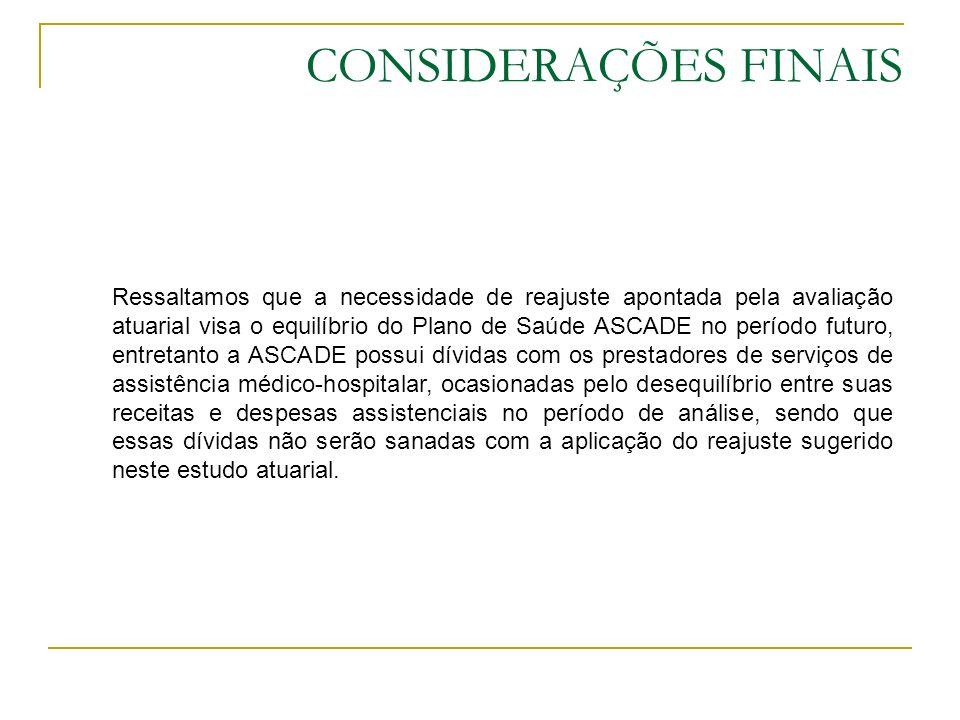 CONSIDERAÇÕES FINAIS Ressaltamos que a necessidade de reajuste apontada pela avaliação atuarial visa o equilíbrio do Plano de Saúde ASCADE no período