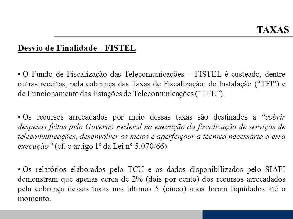 Desvio de Finalidade - FISTEL O Fundo de Fiscalização das Telecomunicações – FISTEL é custeado, dentre outras receitas, pela cobrança das Taxas de Fis