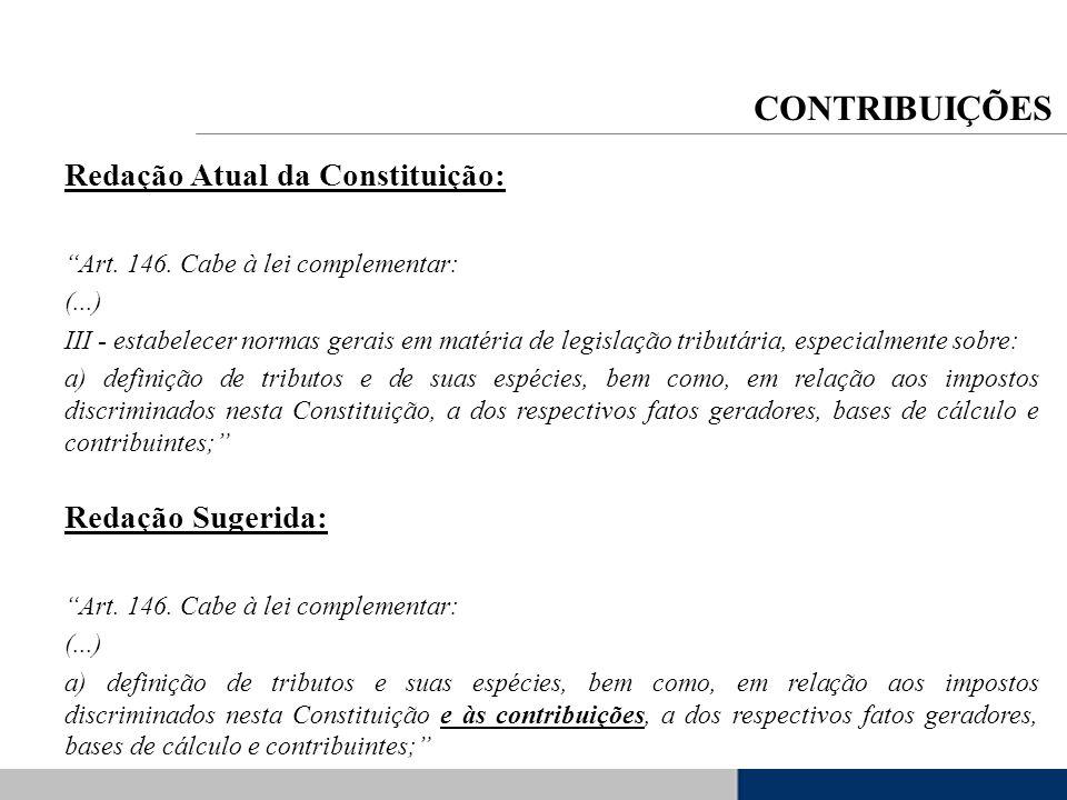 Redação Atual da Constituição: Art. 146. Cabe à lei complementar: (...) III - estabelecer normas gerais em matéria de legislação tributária, especialm