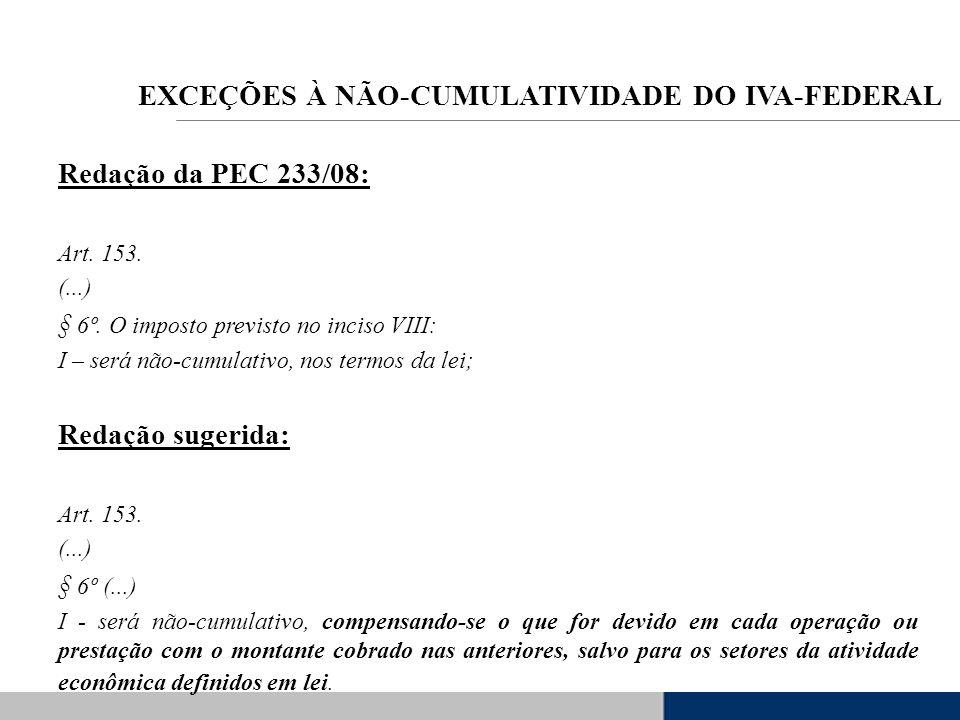 Redação da PEC 233/08: Art. 153. (...) § 6º. O imposto previsto no inciso VIII: I – será não-cumulativo, nos termos da lei; Redação sugerida: Art. 153