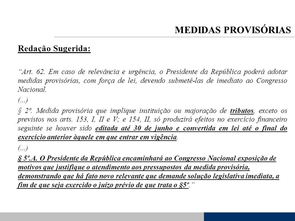 Redação Sugerida: Art. 62. Em caso de relevância e urgência, o Presidente da República poderá adotar medidas provisórias, com força de lei, devendo su