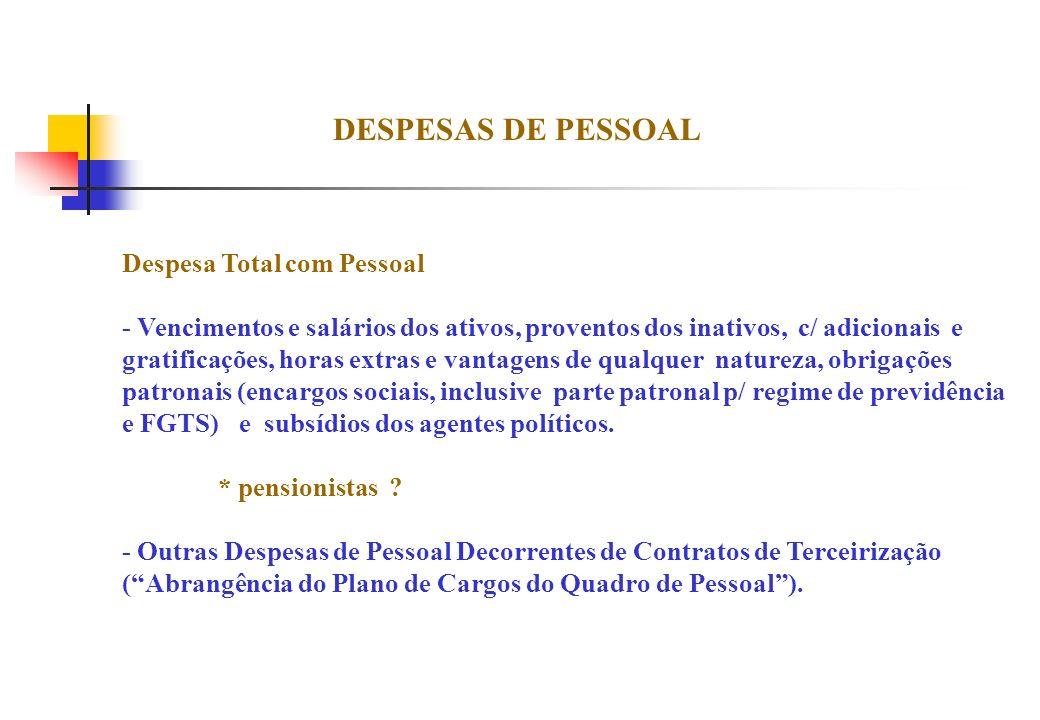 DESPESAS DE PESSOAL Despesa Total com Pessoal - Vencimentos e salários dos ativos, proventos dos inativos, c/ adicionais e gratificações, horas extras