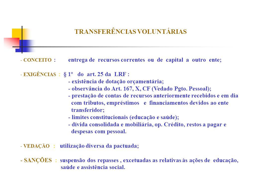 TRANSFERÊNCIAS VOLUNTÁRIAS - CONCEITO :entrega de recursos correntes ou de capital a outro ente; - EXIGÊNCIAS : § 1º do art. 25 da LRF : - existência