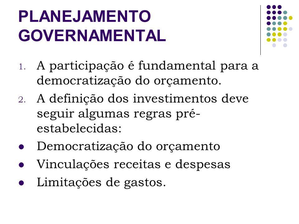 PLANEJAMENTO GOVERNAMENTAL As ações priorizadas devem ser pensadas numa perspectiva de instituição de políticas de Estado e não de Governo.