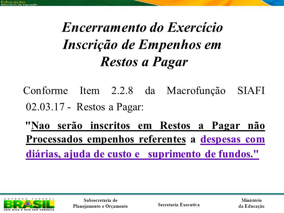 Ministério da Educação Subsecretaria de Planejamento e Orçamento Secretaria Executiva Encerramento do Exercício Inscrição de Empenhos em Restos a Paga