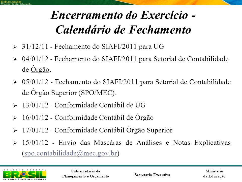 Ministério da Educação Subsecretaria de Planejamento e Orçamento Secretaria Executiva Encerramento do Exercício - Calendário de Fechamento 31/12/11 -