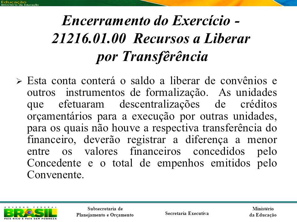 Ministério da Educação Subsecretaria de Planejamento e Orçamento Secretaria Executiva Encerramento do Exercício - 21216.01.00 Recursos a Liberar por T