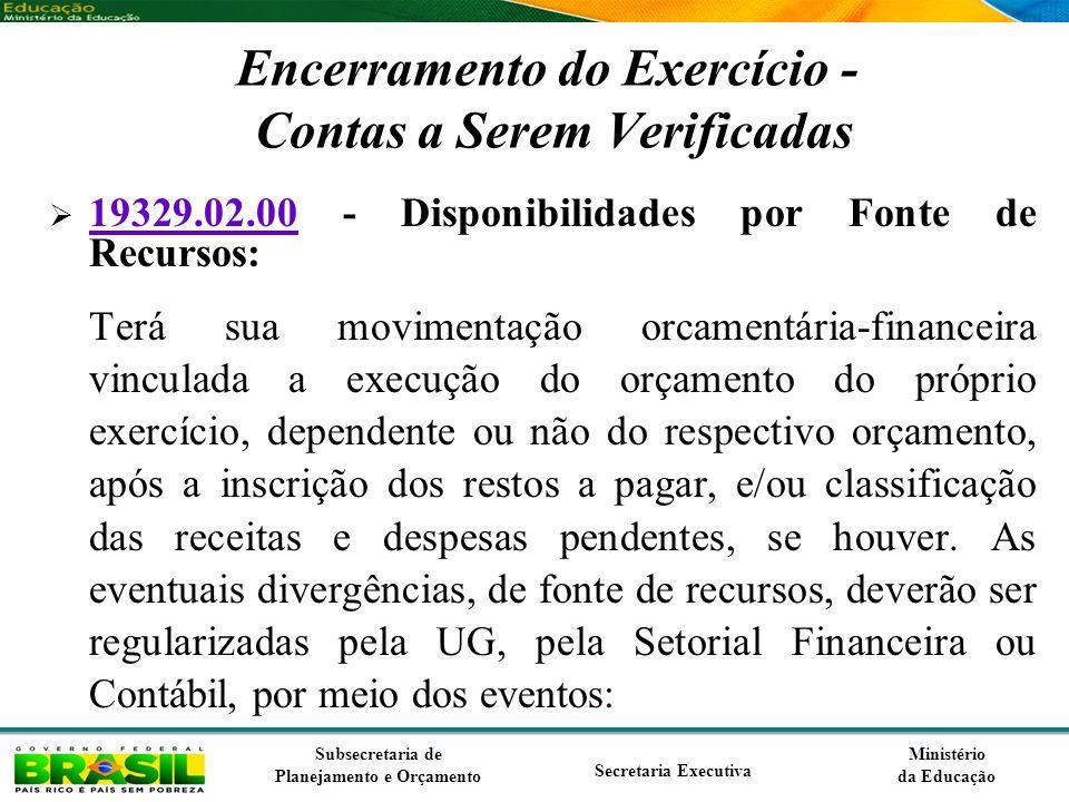 Ministério da Educação Subsecretaria de Planejamento e Orçamento Secretaria Executiva Encerramento do Exercício - Contas a Serem Verificadas 19329.02.