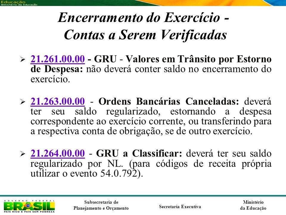 Ministério da Educação Subsecretaria de Planejamento e Orçamento Secretaria Executiva Encerramento do Exercício - Contas a Serem Verificadas 21.261.00