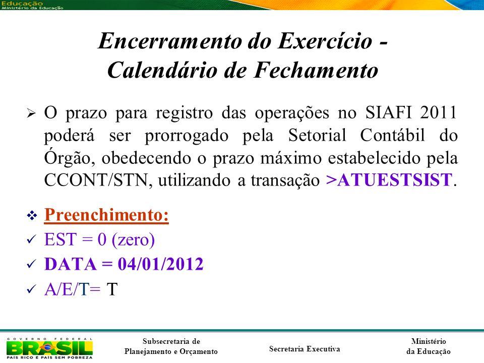 Ministério da Educação Subsecretaria de Planejamento e Orçamento Secretaria Executiva Encerramento do Exercício - Calendário de Fechamento O prazo par
