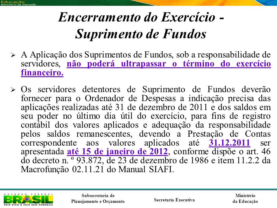 Ministério da Educação Subsecretaria de Planejamento e Orçamento Secretaria Executiva Encerramento do Exercício - Suprimento de Fundos A Aplicação dos