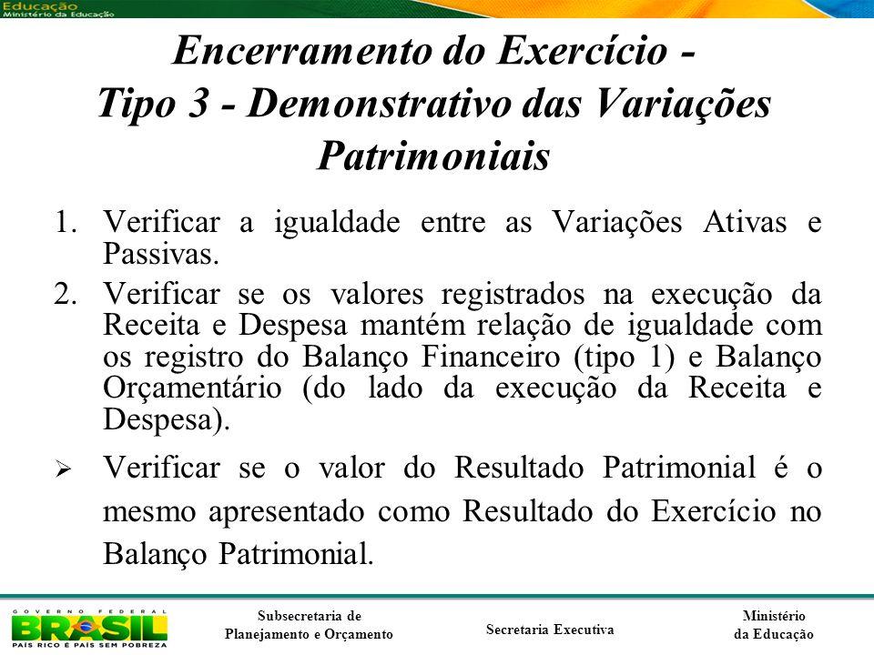 Ministério da Educação Subsecretaria de Planejamento e Orçamento Secretaria Executiva Encerramento do Exercício - Tipo 3 - Demonstrativo das Variações