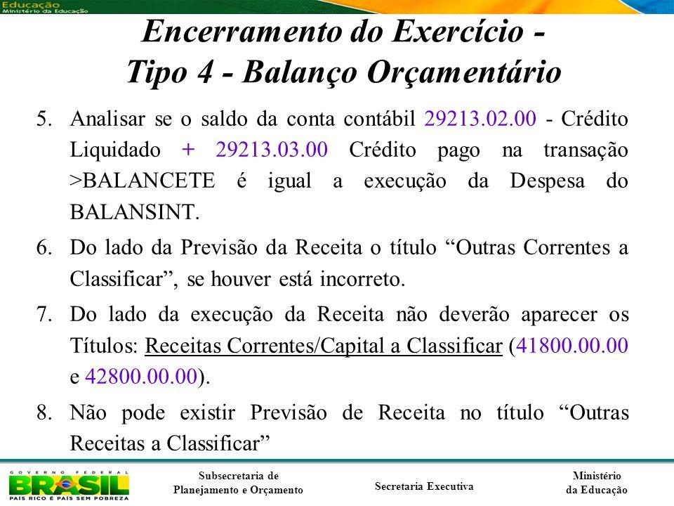 Ministério da Educação Subsecretaria de Planejamento e Orçamento Secretaria Executiva Encerramento do Exercício - Tipo 4 - Balanço Orçamentário 5.Anal