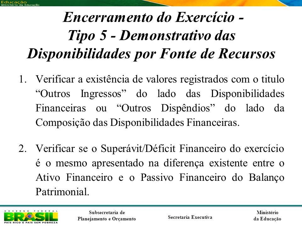 Ministério da Educação Subsecretaria de Planejamento e Orçamento Secretaria Executiva Encerramento do Exercício - Tipo 5 - Demonstrativo das Disponibi