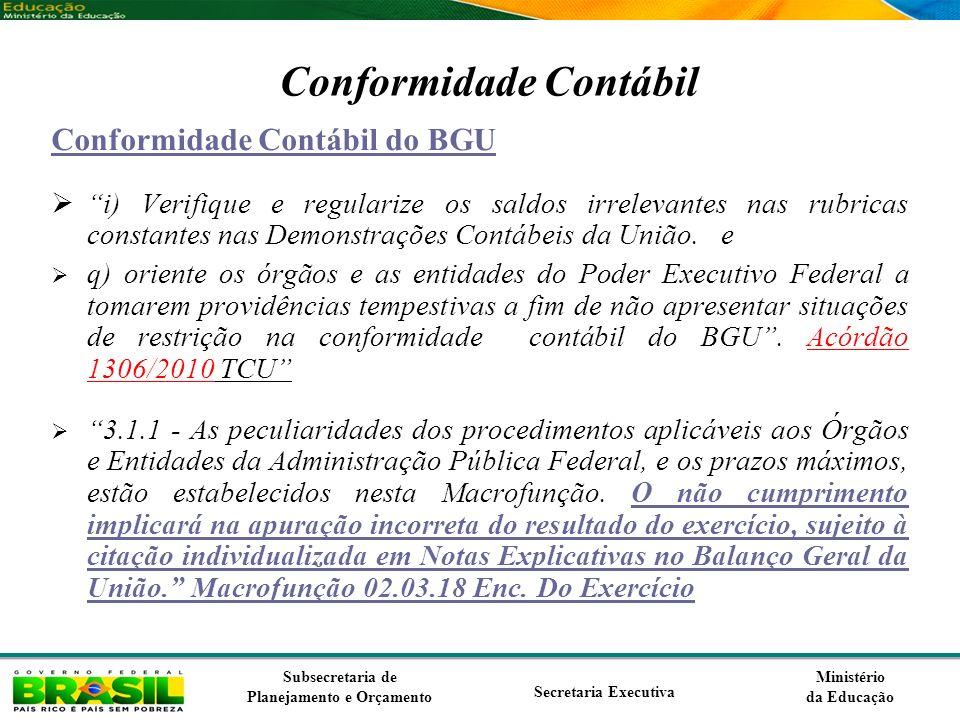 Ministério da Educação Subsecretaria de Planejamento e Orçamento Secretaria Executiva Conformidade Contábil Conformidade Contábil do BGU i) Verifique