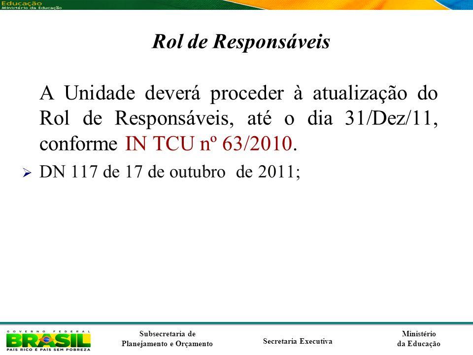 Ministério da Educação Subsecretaria de Planejamento e Orçamento Secretaria Executiva Rol de Responsáveis A Unidade deverá proceder à atualização do R