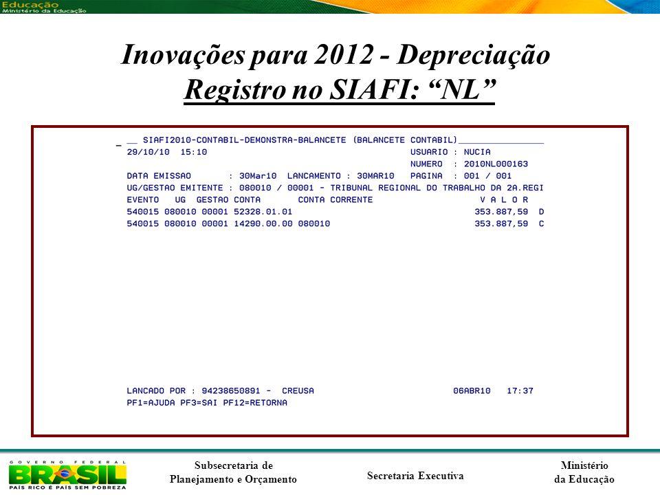 Ministério da Educação Subsecretaria de Planejamento e Orçamento Secretaria Executiva Inovações para 2012 - Depreciação Registro no SIAFI: NL