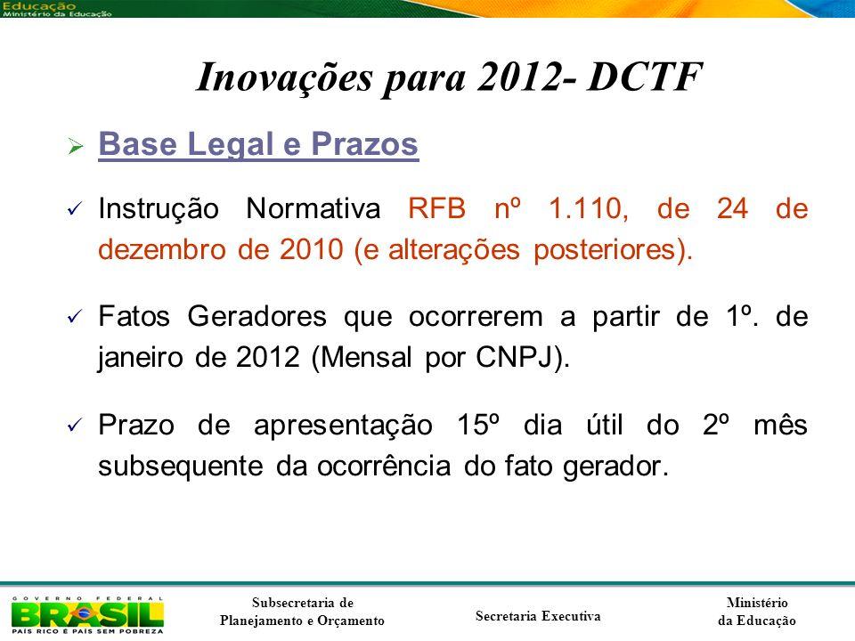 Ministério da Educação Subsecretaria de Planejamento e Orçamento Secretaria Executiva Inovações para 2012- DCTF Base Legal e Prazos Instrução Normativ