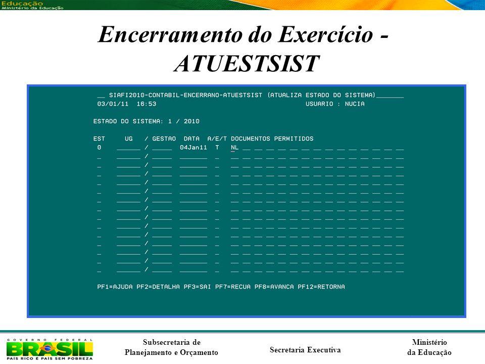 Ministério da Educação Subsecretaria de Planejamento e Orçamento Secretaria Executiva Encerramento do Exercício - ATUESTSIST