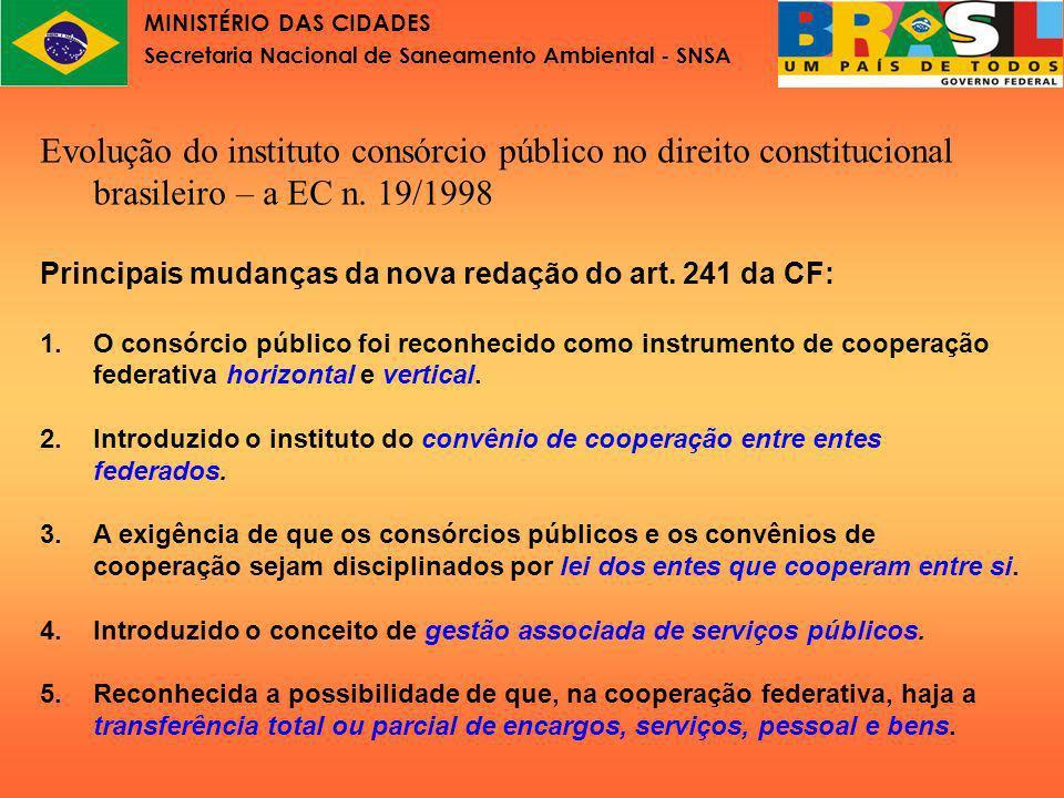 MINISTÉRIO DAS CIDADES Secretaria Nacional de Saneamento Ambiental - SNSA Lei nº11.107 Parte III Principais inovações da Lei